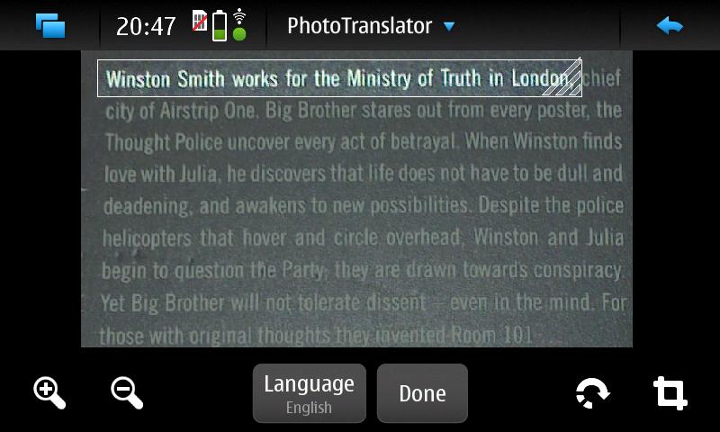PhotoTranslator - Textauswahl
